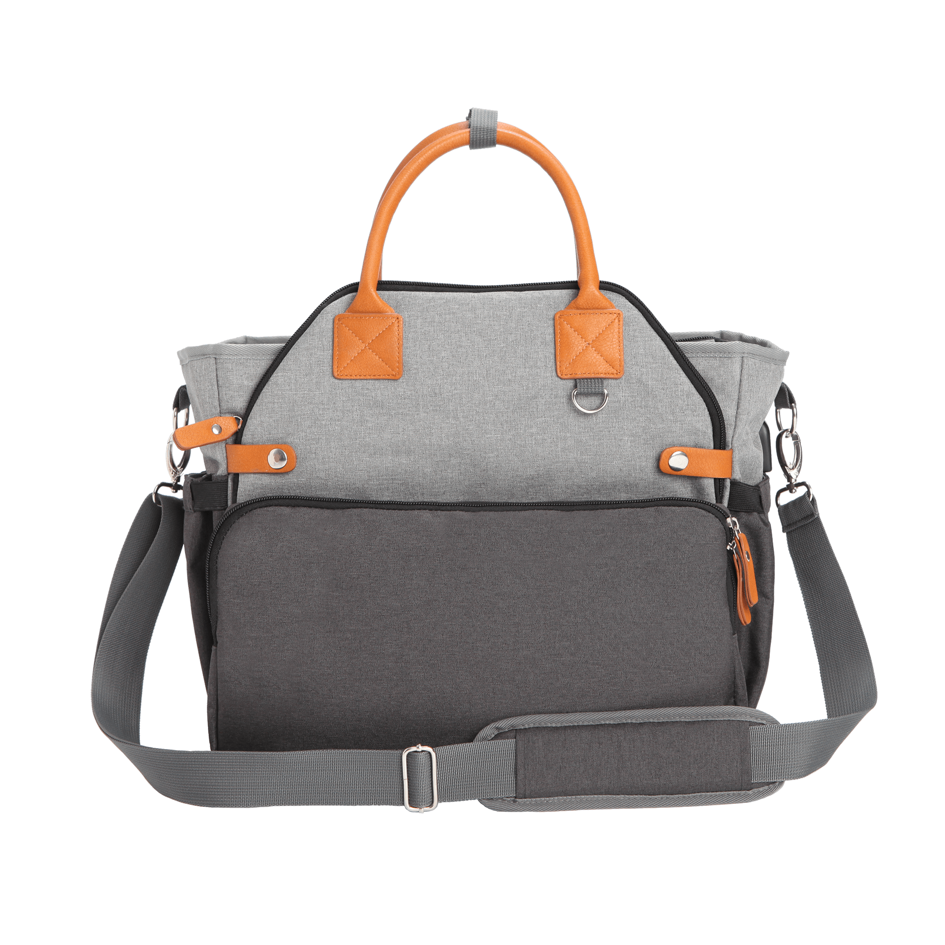 Hero product photo of a grey diaper bag with orange handles on a transparent background
