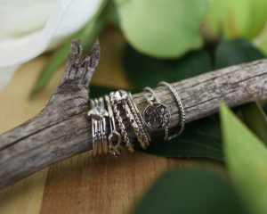 silver rings on branch with leaves jewelry tabletop product photograph