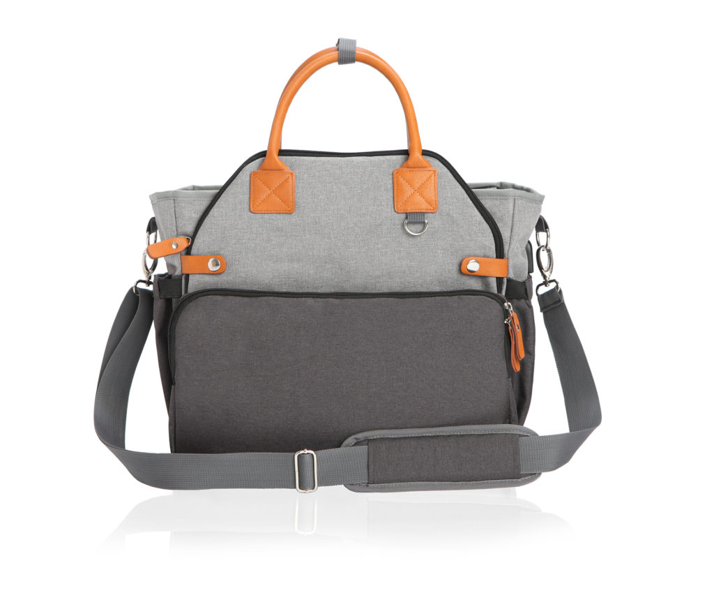 Product on White Background with shadow of a grey diaper bag with orange handles