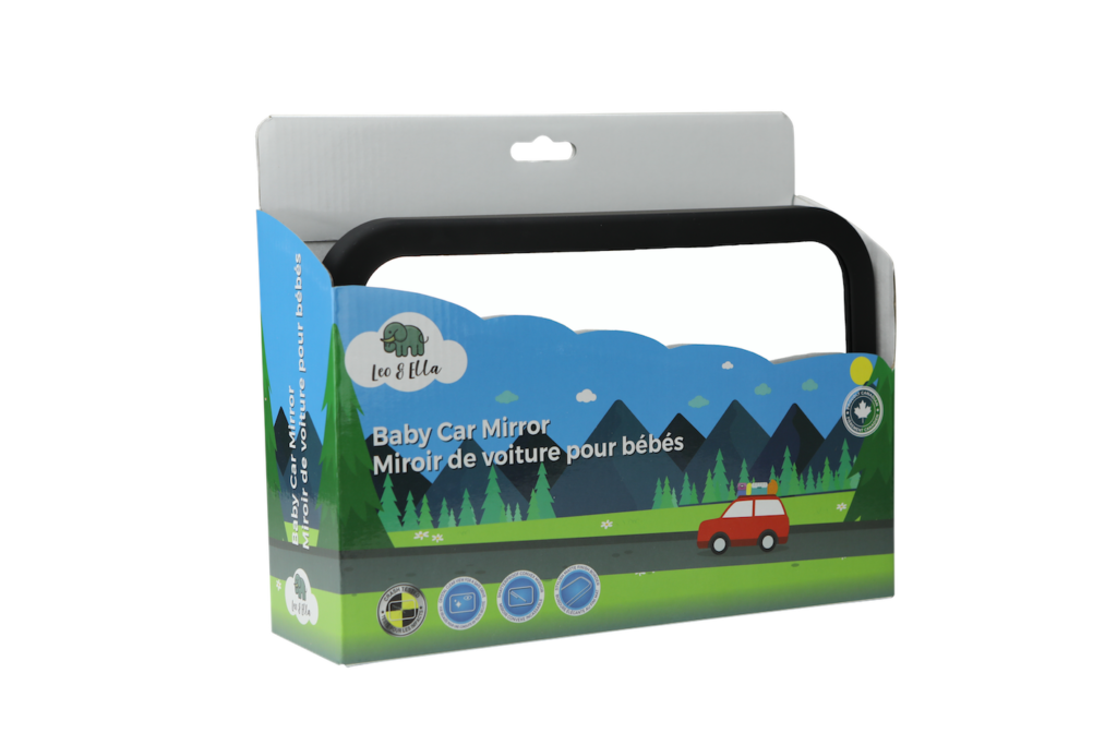Packaging product photo on transparent background of baby car mirror in blue and green box
