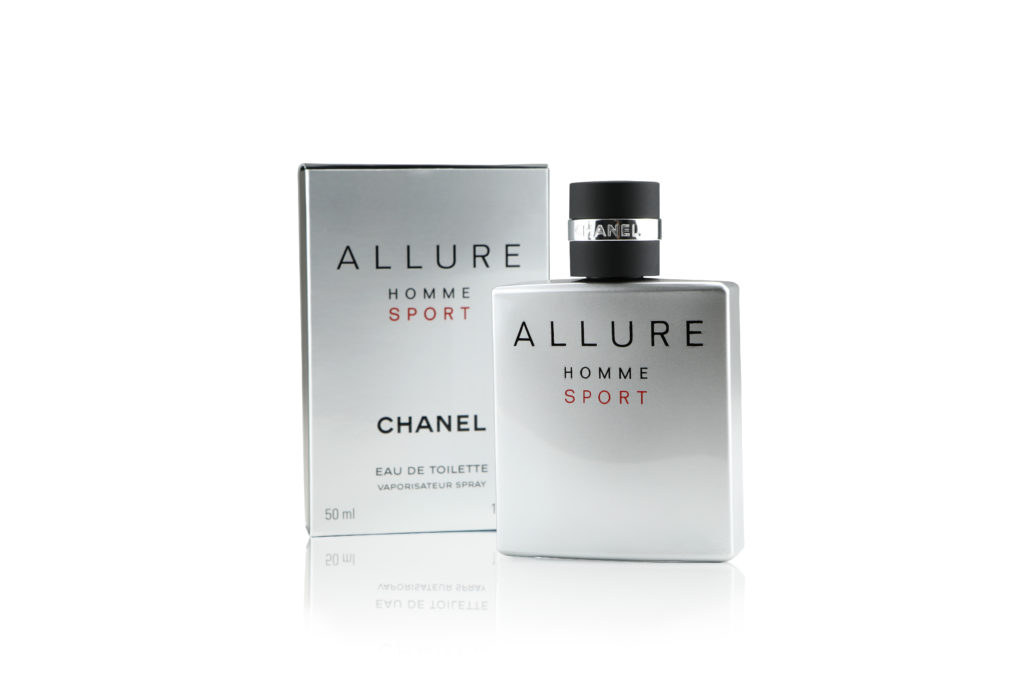 Allure product photography white background with shadow men's silver sport cologne