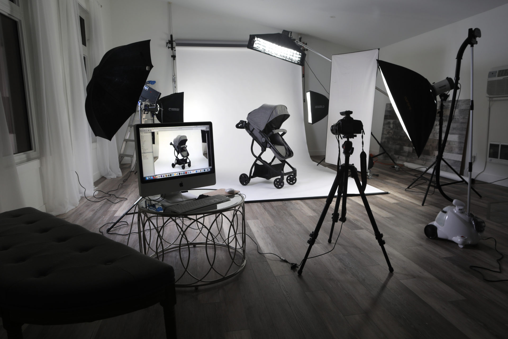 black and white photo of photography studio with lights and photograph equipment, professional online product photography