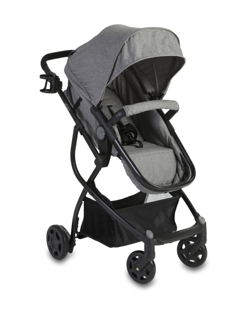 grey baby stroller product photography white background
