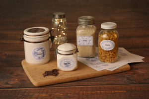 Mini Lifestyle photo of custom food and jar labels wood tabletop product photograph