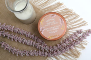 Mini Lifestyle Photo Body Butter cream with purple flowers and burlap tabletop product photograph