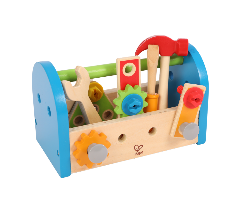 Product photo on white background of child wooden tool box in blue, red, green and yellow