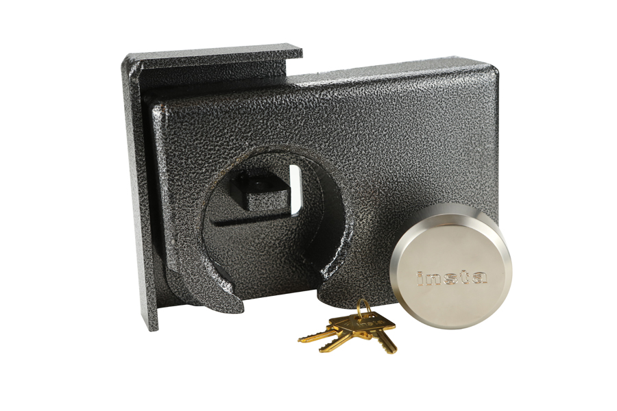 product photo on white background of a pick lock box in gun metal grey and silver
