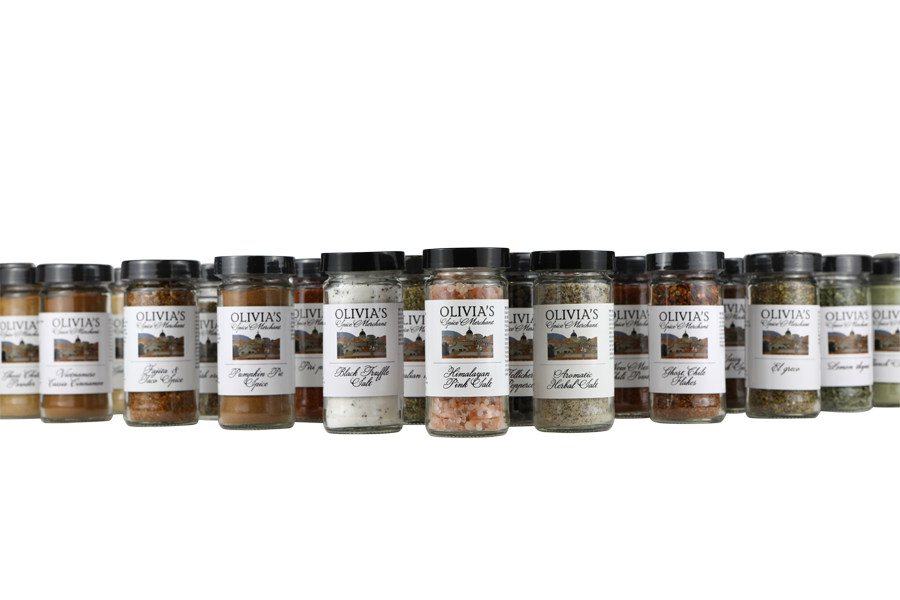 product photo on transparent background of row of Olivia's spice jars